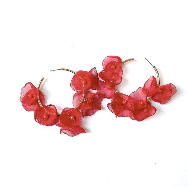 Auskari zīda ziedi sarkani