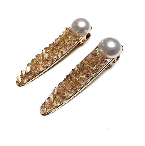 Matu sprādzes ar pērli un kristāliņiem, 2 gab.