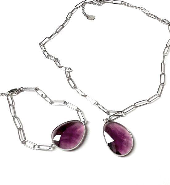 Kaklarota ķēdītē stikls violets