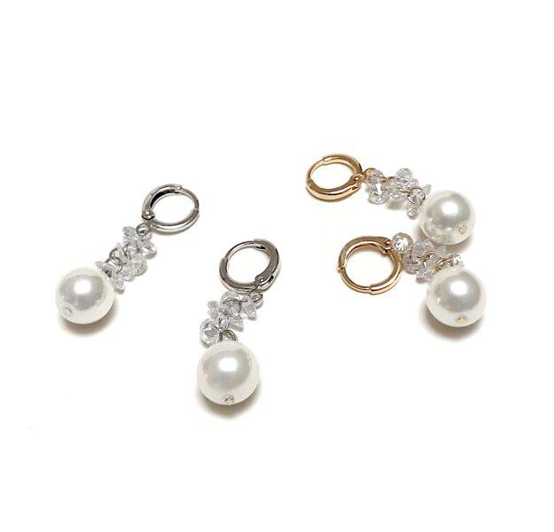 Auskari pērles ar cirkonijiem riņķītī