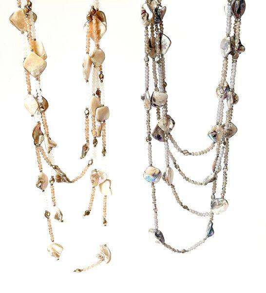 Kaklarota gara ar perlamutru un stiklu