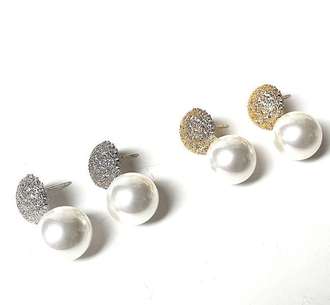 Auskari pērle ar akmentiņu bumbiņu