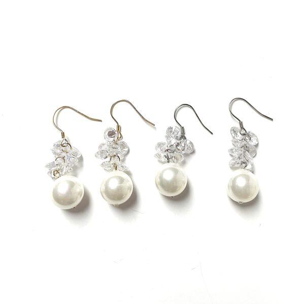 Auskari pērles ar cirkonijiem