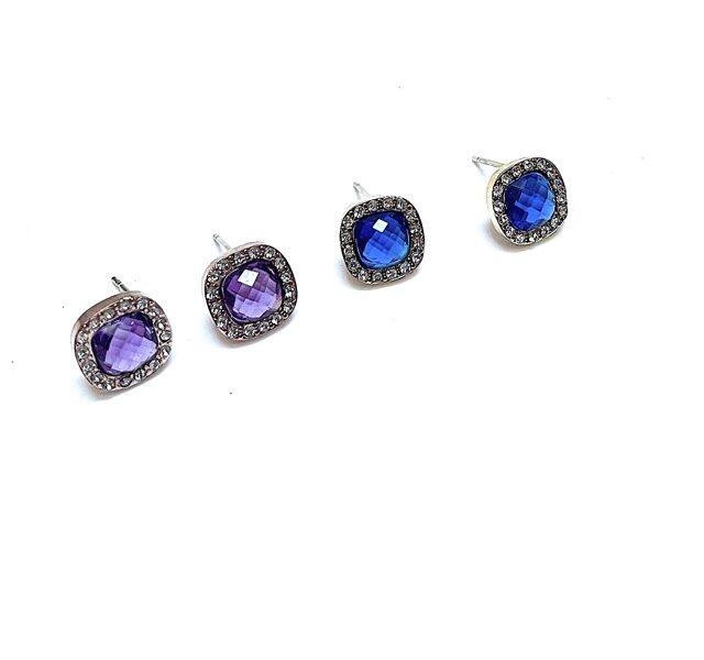Auskari cirkonija nagliņas zilas, violetas