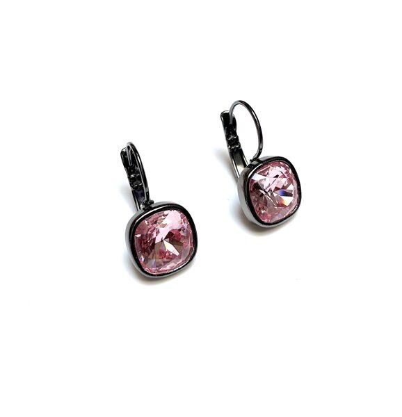 Auskari ar Swarovski kristālu kvadrāti gaiši rozā